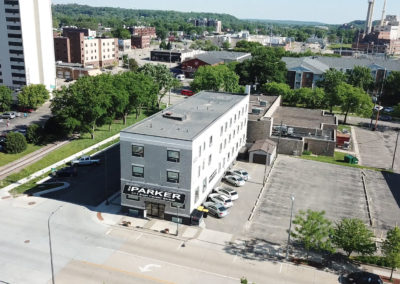 Aerial shot of the Parker apartment in Rochester, MN