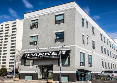 Front Quarter View of the Parker in Downtown Rochester.